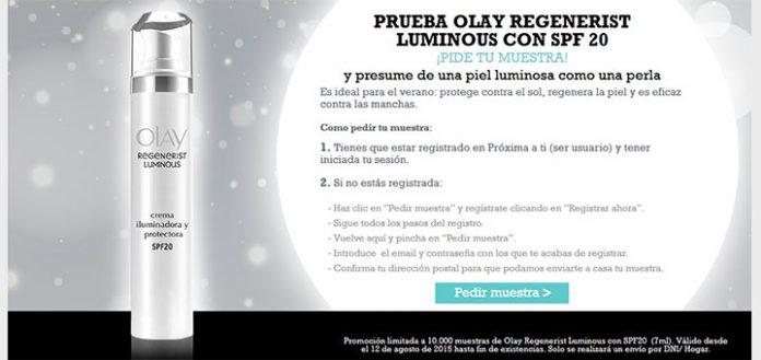 Muestras gratis Olay Regenerist Luminous