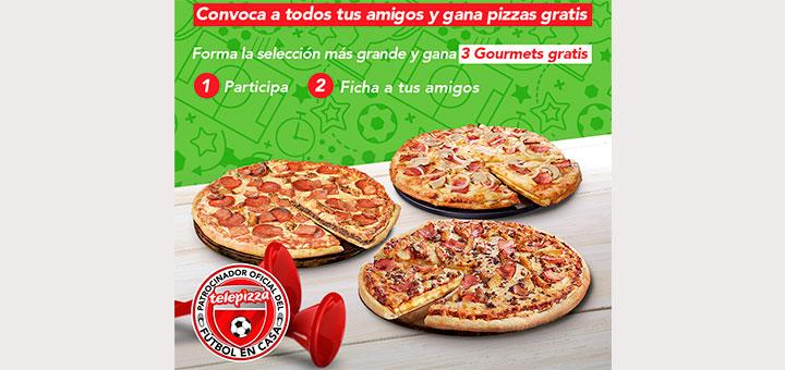 Gana pizzas gratis con Telepizza