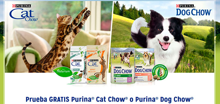 Prueba gratis Purina Cat Chow o Purina Dog Chow
