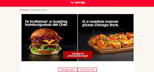 Vips invita a una hamburguesa o una pizza