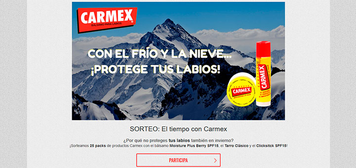 Carmex sortea 25 packs de sus productos