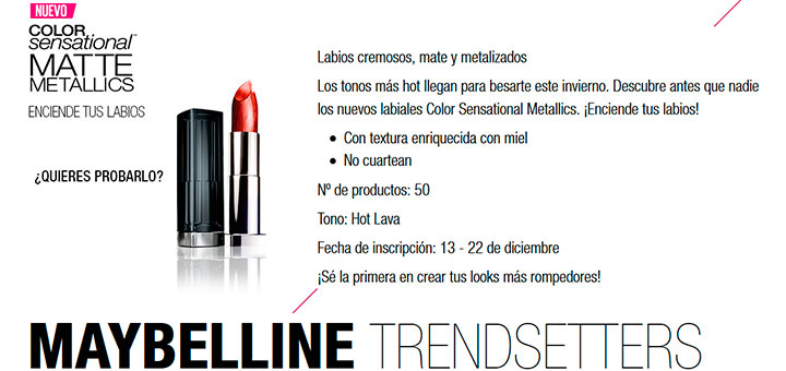 Prueba gratis Color Sensational Metallics de Maybelline