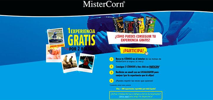 Consigue 1 experiencia gratis con MisterCorn