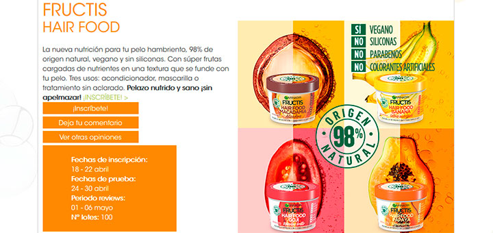 Prueba gratis Fructis Hair Food