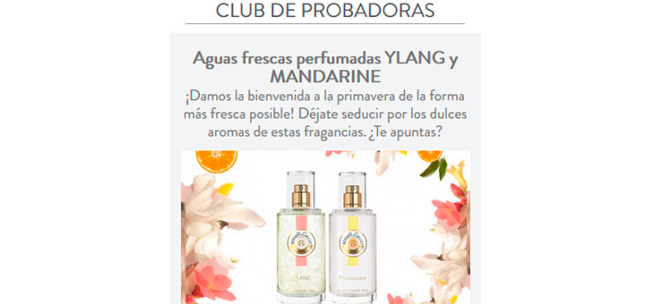 Dan a probar gratis Aguas frescas perfumadas Ylang y Mandarine