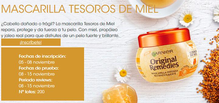 Garnier da a probar gratis Mascarilla Tesoros de miel