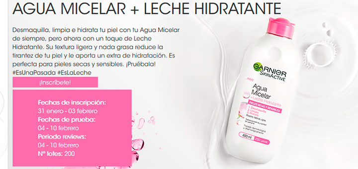 Garnier da a probar gratis Agua Micelar + Leche Hidratante