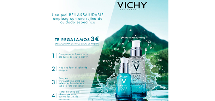 Regalan 3€ en la compra de cuidado de rostro Vichy