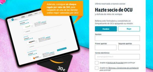 Consigue un cheque regalo de 30€ con OCU