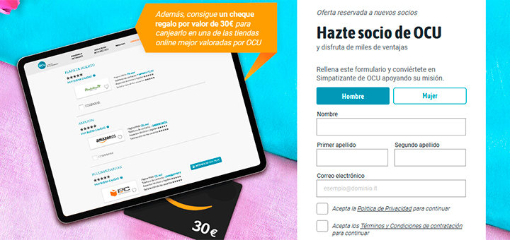 Consigue un cheque regalo de 30€ con OCU