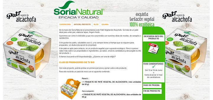 Prueba gratis Paté Vegetal de Alcachofa Soria Natural con Tv Bio