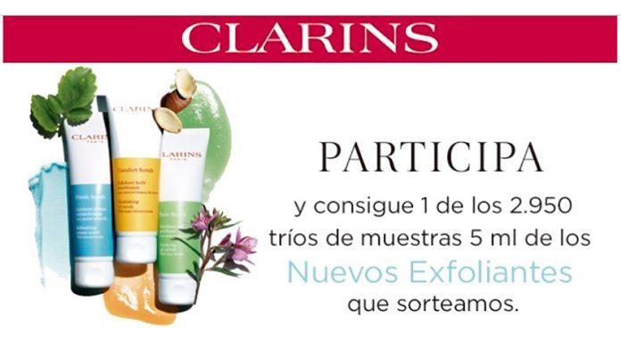 Sortean 2.950 tríos de muestras de nuevos exfoliantes Clarins