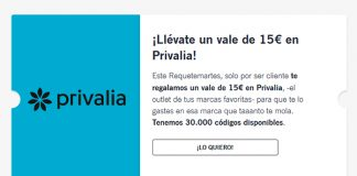 Llévate gratis un vale de 15€ en Privalia con Yoigo