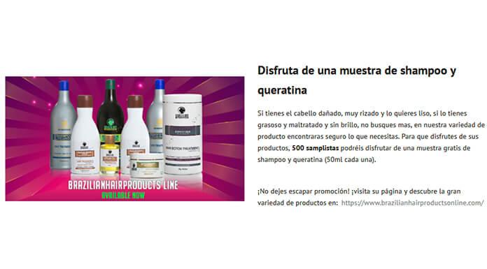 Muestras gratis de Brazilianhairproducts